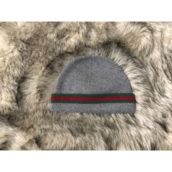 45b5f18474ae3 Gucci Other - Gucci Grey Knit Wool Silk Web Detail Beanie Hat